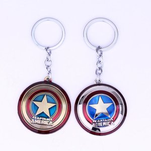 Wholesale Hot Marvel Keychain Star Shield Bronze Red Silver Car Key Ring Key Chain For Fans Porte Clef Llaveros
