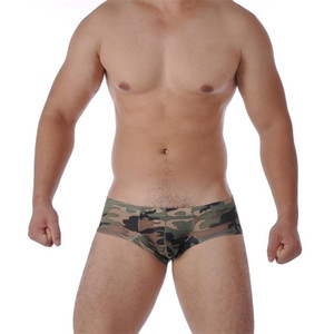 Wholesale New Underwear men boxers cueca shorts men sexy Polyester mens underpants male boxer camouflage underwear silk U convex bag boxer