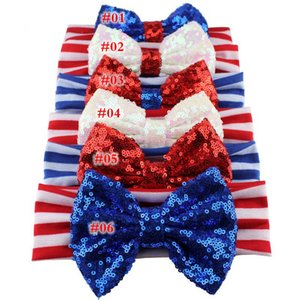 Wholesale 2019 NEW Girls th of July Headband Independence Day Hair Accessories Kids Patriotic Big Sequin Hair Bow American Flag Hair Band