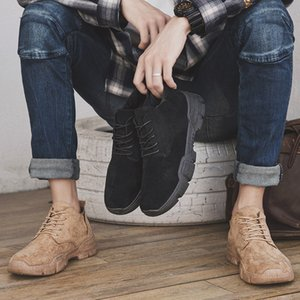 Hot Fashion Winter Mens Work Shoes Cowboy Warm Work & Safety Boots Half Lattice Leisure Handsome Boy Sneaker 1016