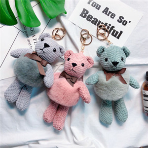 Wholesale Plush Doll Teddy Bear Toy Key Chain Ring Woman Bag Charms Faux Fur PomPom Car Keychain Ragdoll Party Trinket Fashion Cute Animal