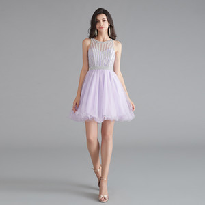 Wholesale MG010 Semi Formal Dresses for Teens Scoop A-Line Tulle Light Purple Evening Dresses Metal Crystal Beading Short Prom Dress Zipper Up Back