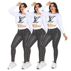 Wholesale Designer Women Crop Top Leggings Outfits Piece Set Jogging Suit Sportswear Hoodies Tights Shirt Pullover Pant Tracksuit Fall Clothing
