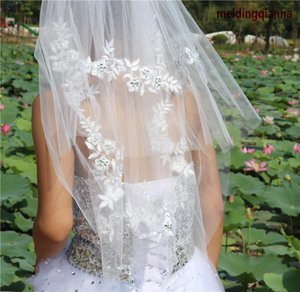 Wholesale Real Picture Fashional Best Selling White Ivory Wedding Veil Elegant Two layer Applique Edge Waist Length Meidingqianna Brand Bridal Veil