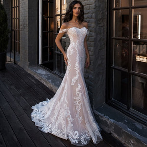 Wholesale Sexy Mermaid Wedding Dress Off the Shoulder Sleeveless Applique Lace Wedding Gowns Robe De Mariage for Bride