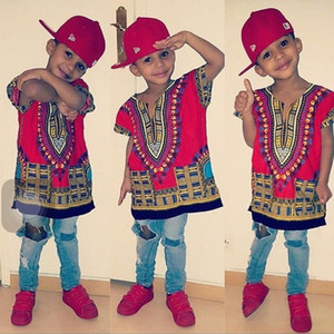 Wholesale Kids Child New Fashion Design Traditional African Clothing Print Dashiki T shirt For Boys and Girls