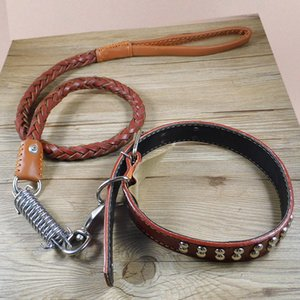 Wholesale New Leather Dog Collar Leash Set Personalized Customized Dogs Collars Layer Leather Dog Leash For Large Dogs Pitbull