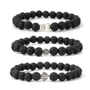 Wholesale Hot Fashion Natural Stone Bright Black Matte Beads Men Bracelet Insect Monkey Bear Heart Pendant Bracelets Women Vintage Jewelry