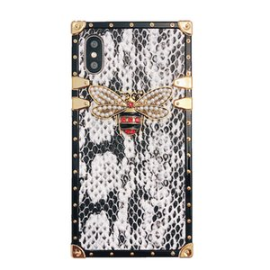 Wholesale Luxury Designer Snake Skin Bee Phone Case For iPhone X XS MAX Square Silicone Case For iPhone S Plus Coque Cover Fundas