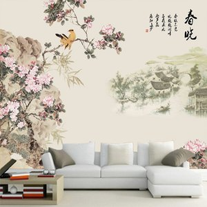Wholesale wallpaper spring for sale - Group buy Chinese style landscape early spring flower and bird Tang Dynasty poetry mural d seamless TV sofa background wallpaper