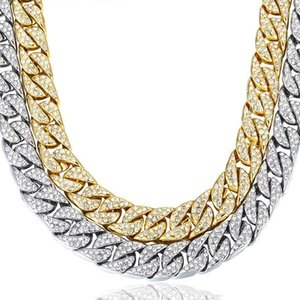 Wholesale Cuban Link Designer Necklace Gold Plated Hip Hop Mens Necklace Clear Rhinestones Luxury Necklaces Silver Fashion Jewelry
