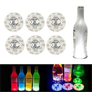 6cm Glow LED Coasters Light 4 LEDs 3M Stickers Bottle Light Flashing led lights For Christmas Xmas Nightclub Bar Party Vase Decoration