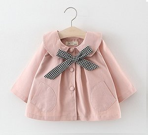 Wholesale Baby Girls Bow Tie Wind Coat Outerwer Fall Kids Boutique Clothing Korean T Little Girls Solid Color Coat Tops