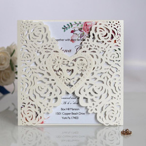 Wholesale paper cutting patterns for sale - Group buy 10Pcs Wedding invitations heart flower pattern greeting cards laser cut paper cards wedding birthday party postcards