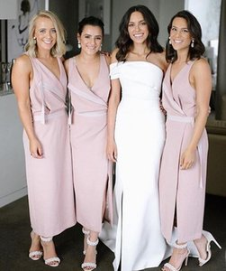 Wholesale 2019 pink Bridesmaid Dresses sexy v neck split ruched stain tea length Custom Made Maid of Honor Gowns Cheap long Modest Bridesmaid Gowns
