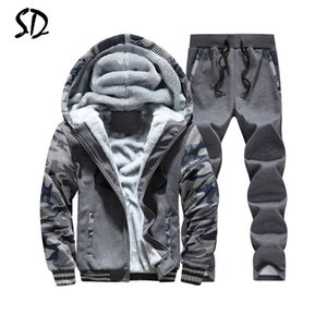 Wholesale Tracksuit Men Plus Velvet Camouflage Army Casual Hooded Warm Hoodie Men Winter Thick Inner Fleece 2PC Pant Men Moleton
