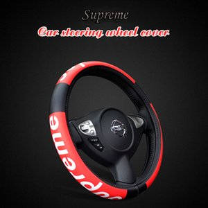 Wholesale Car steering wheel cover car headrest cushion and leather steering wheel cover seat cushions sup fashion decoration black