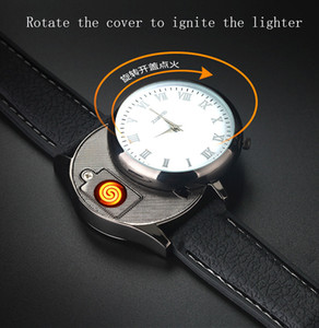 Creative 2 in 1 wrist crystal watch lighter Electric heater cigarette lighter USB Rechargeable cigar Lighter portable Windproof top grade