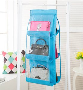Wholesale transparent clothes storage bag resale online - 7 Colors Home Pockets Handbag Purse Storage Bag Hanging Books Organizer Wardrobe Closet Hanger Double Sided Foldable Transparent EEA1419