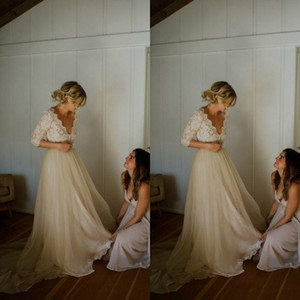 2019 Beach Boho Champagn Lace Wedding Dresses 3 4 Long Sleeve Illusion Bodice V Neck Tulle A Line Garden Outdoor Wedding Bridal Gowns