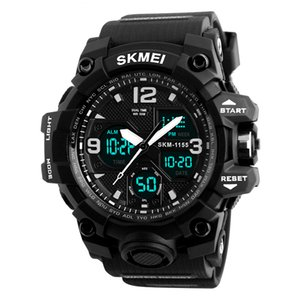 S-Shock Men's Military Watch Waterproof Big Dial PU Band Outdoor Sport Watches Men with Backlight Dual Display Quartz Wristwatch