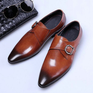 мужская повязка оптовых-Classic Formal Shoes Casual Dress Shoes Men s Double Monk Strap buckle Leather Oxford pointed Toe oxford big size LH
