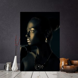 Wholesale 1 Black Gold African Woman Portrait Canvas Painting Posters and Print Scandinavian Wall Art Picture for Living Room No Frame