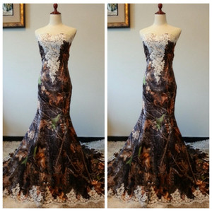 Wholesale Lace Appliques Camo Mermaid Wedding Dress Slim Real Pictures Bridal Gowns Custom Sexy Long Hunting Vestidos