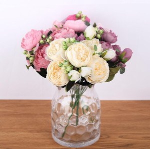 Wholesale 5 Big Heads Bouquet Peonies Artificial Flowers Silk Peonies Bouquet Bud Flowers Wedding Holding flowers Home Decoration Fake Peony Rose