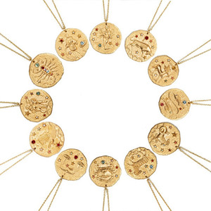 Wholesale 12 Constellation Pendant Necklace Zodiac Sign Gold Coin Disk Pendant Zodiac Necklaces for Men Women Statement Jewelry with Gold Color Gift