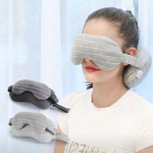 Wholesale Neck Pillow Eye Mask Portable Travel Head Neck Cushion Flight Sleep Rest Blackout Goggles Blindfold Shade LJJR1046