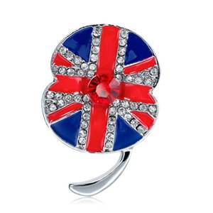 Wholesale White Gold Tone Rhinestone Crystal British UK Flag Poppy Union Jack Brooch Remembrance Day Pins DHL