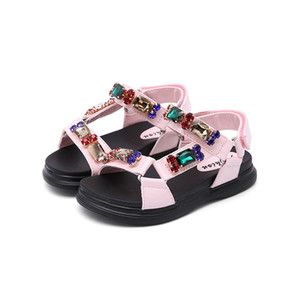 Wholesale New Fashion Summer Baby Girl Sweet Cute All match Rhinestone Sandal Child Pink Flats Little Kid Black Shoes