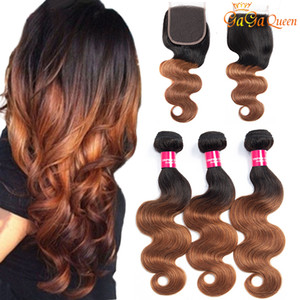 3 Bundles 1b 30 Brazilian Body Wave Virgin Hair Bundle With Closure Ombre Human Hair 4X4 Lace Closure With Hair Bundles
