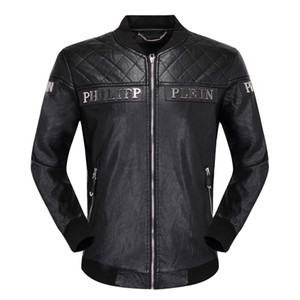 Wholesale Leather men's PU metal letter embroidered Piplan coat top fashion motorcycle coat