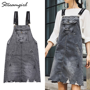 Wholesale Streamgirl Gray Denim Skirt Overalls For Women Ripped Jeans Skirts With Straps Summer Midi Skirt Summer Jeans With Pockets