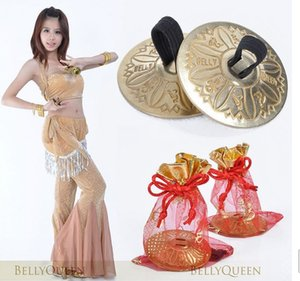 Wholesale 10 pairs Belly Dance Props Accessory Fine Copper Egypt Finger Cymbal pair Gold Color