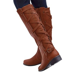 venta de botas largas al por mayor-Hot Sale woman Ladies Buckle Roman Riding Knee High Cowboy botas de invierno mujer Martin Botas largas botas