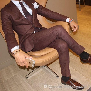 Wholesale brown suits tie resale online - Custom Button Brown New Costume Homme Men Suits For Wedding Pieces Jacket Pant Tie Masculino Groom Blazer Tuxdeo