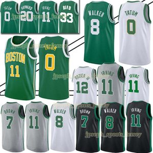 Wholesale Boston 11 Irving Celtic Jerseys ncaa 0 Tatum 8 Walker 33 Larry Jaylen Bird 7 Brown Jersey 2019 TOP mens designer t shirts