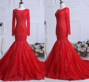 Wholesale back round pictures for sale - Group buy Red Long Sleeve Lace Mermaid Prom Dresses Adult Round Neckline See Though Back Sweep Train Evening Gowns Party Formal Dress Women Long