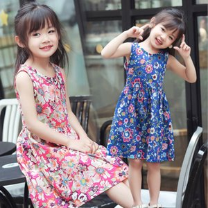 Wholesale Kids dresses for girls floral summer stylish dresses baby girls summer dresses design cloth cotton sleeveless little girls dress