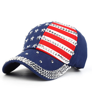 Wholesale 2019 Women Baseball Hat Studded Diamond American Flag Jeans Patchwork Casquette Homme Snapback Girls Sport Caps Leisure Sun Hats