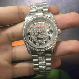Wholesale ice wristwatches for sale - Group buy Popular Men s Ice Diamond Watches Diamond Face Watch Silver Stainless Steel Case Diamond Bezel Watch Automatic Mechanical Wristwatch