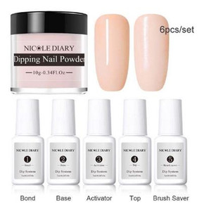 Wholesale 6Pcs Set Dipping System Dip Nail With Base Top Activator Brush Saver Liquid Natural Dry Without Lamp Glitter