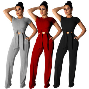 Wholesale women designer tracksuit short sleeve outfits sweatsuits legging piece set skinny sweat suits tights sport suit pullover pants plus size