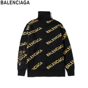 Wholesale Autumn and winter new fashion designer high grade turtleneck long sleeve sweater men and women with a casual yellow letter sweater