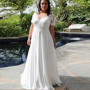 Open Back Romantic Plus Size Summer Beach Chiffon Oversize Wedding Dresses Beaded Lace Appliques Short Sleeve V Neck Bridal Gowns Fashion on Sale