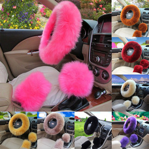 Wholesale Universal Car Plush Fuzzy Steering Wheel Cover Wool Gear Knob Shifter Brake