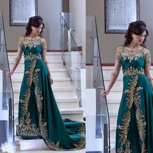 Elegant Arabic Dubai Evening Dresses Half Sleeve hunter Green Party Gown prom Satin Dress With gold lace Appliques abiye gece elbisesi on Sale